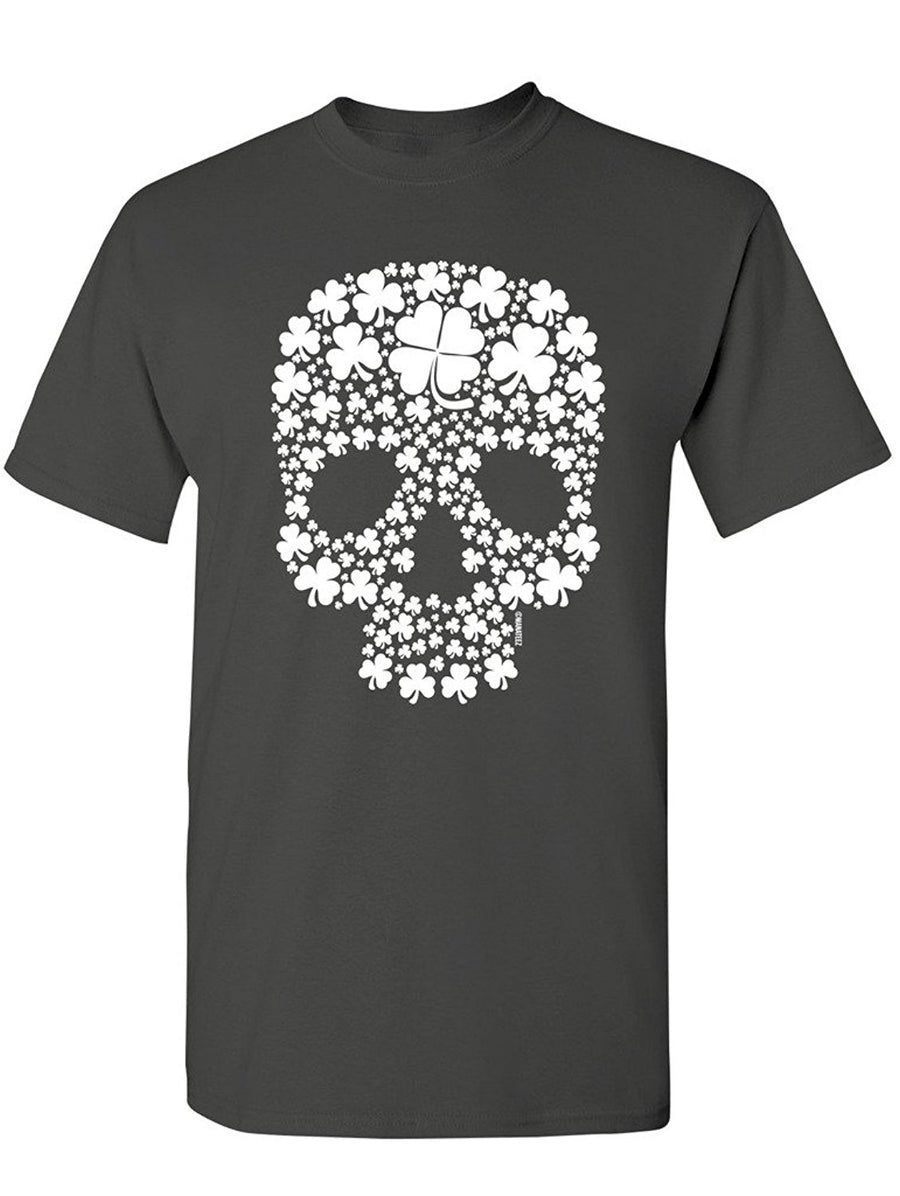 Manateez Men's St. Patrick's Day Four Leaf Clover Candy Skull Tee Shirt