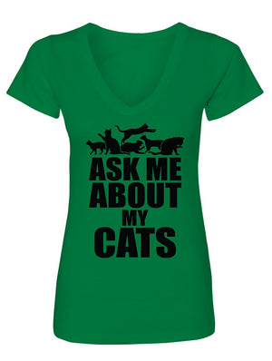Manateez Women's Cat Lady Let Me Tell You About My Cats V-Neck Tee Shirt