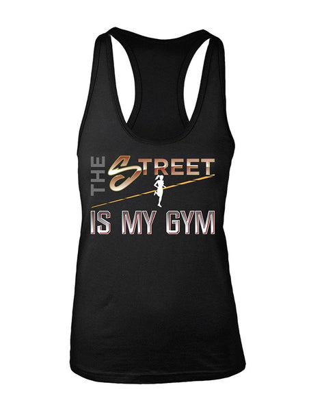 Manateez Women's The Street is My Gym Runner Racer Back Tank Top