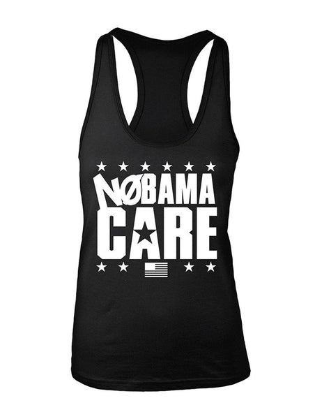 Manateez Women's NoBama Care Obamacare Repeal Racer Back Tank Top Large Black