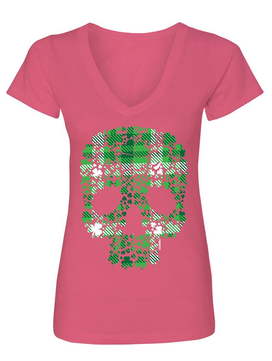 Manateez Women's St. Patrick's Day Plaid Four Leaf Clover Candy Skull V-Neck Shirt
