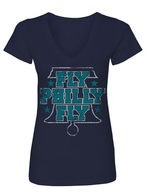 Manateez Women's Eagles Fly Philly Fly V-Neck Tee Shirt