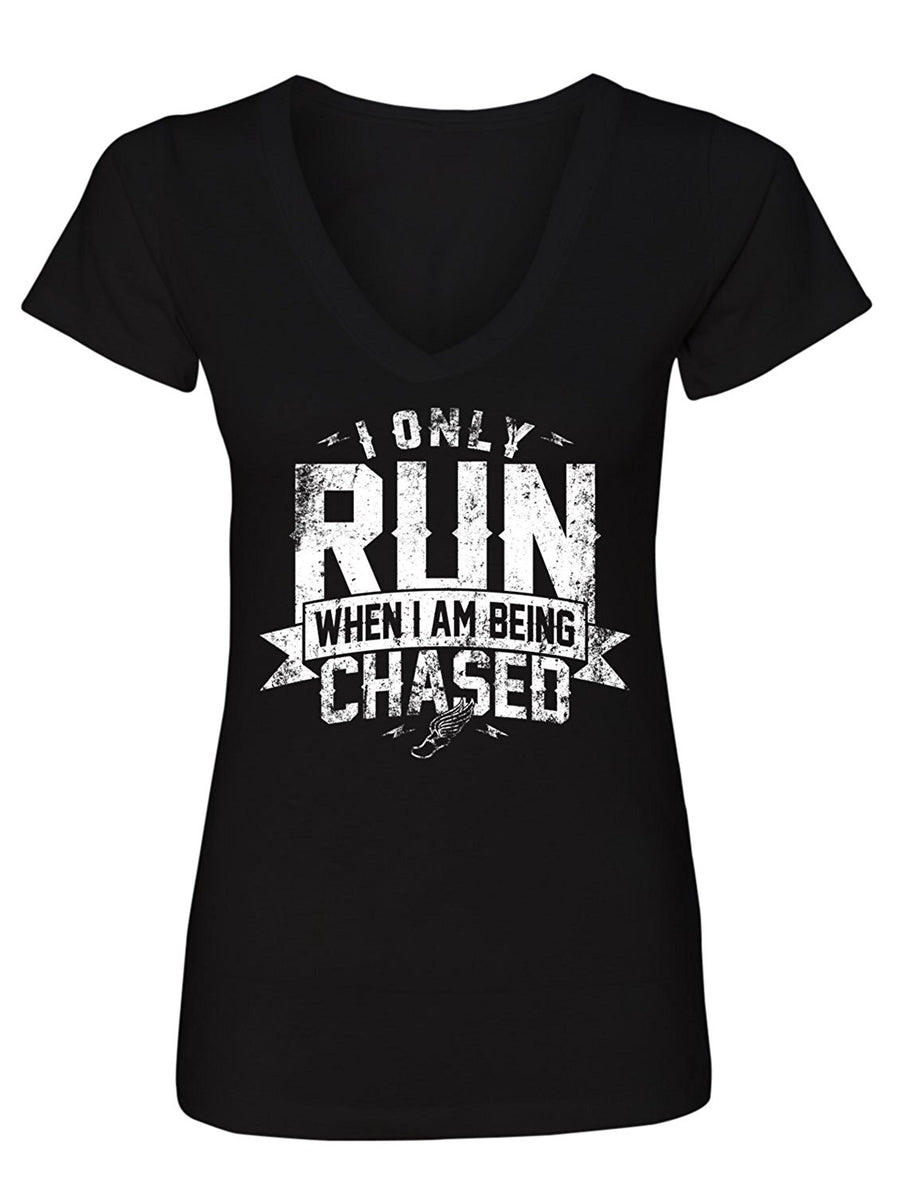 Manateez Women's I Only Run When I Am Being chased V-Neck Tee Shirt