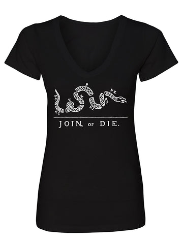 Manateez Women's America Join or Die US Constitution Cartoon V-Neck Tee Shirt