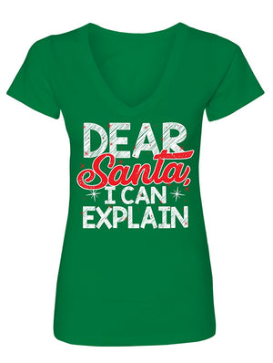 Manateez Women's Ugly Christmas Sweater Naught List Dear Santa I Can Explain V-Neck