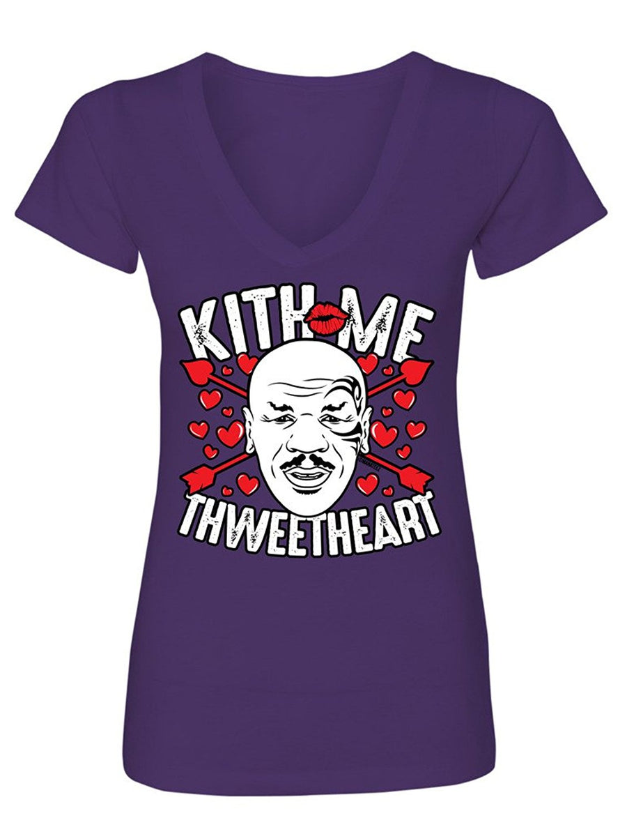 Manateez Women's Mike Tyson Kiss Me Sweetheart Valentine's Day V-Neck