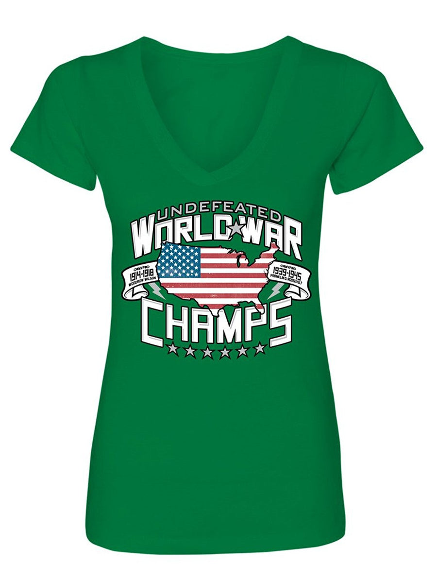 Manateez Women's Two-Time Undefeated World War Champions USA V-Neck Tee Shirt