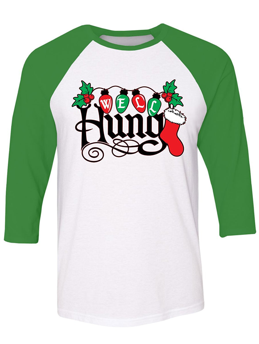 Manateez Ugly Christmas Sweater Well Hung Mistletoe Raglan