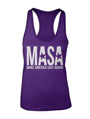 Manateez Women's Make America Safe Again Racer Back Tank Top