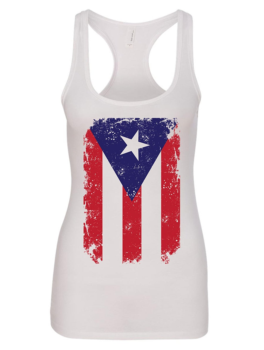 Manateez Women's Puerto Rican Flag Hurricane Relief Racer Back Tank Top Donating Profits To Hurricane Survivors