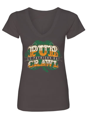 Manateez Women's ST. Patrick's Day Pub Crawl V-Neck Tee Shirt