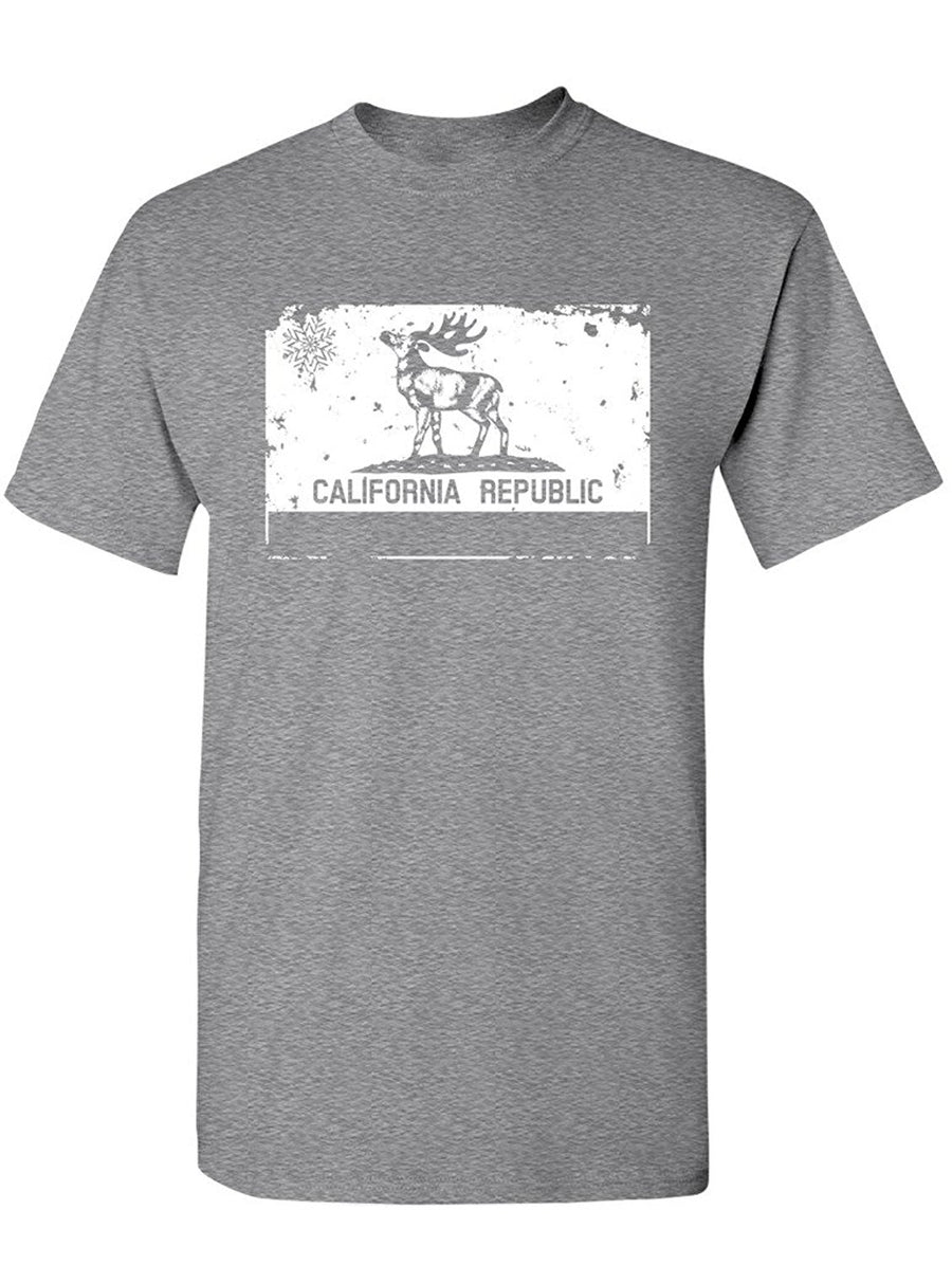 Manateez Men's Merry Christmas California Republic Reindeer Tee Shirt