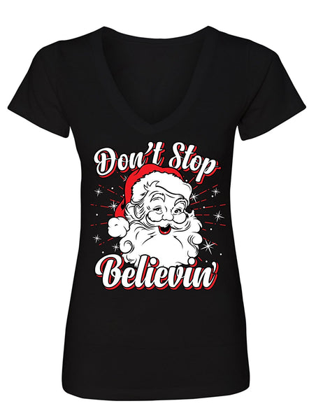 Manateez Women's Ugly Christmas Sweater Don't Stop Believin Santa Clause V-Neck