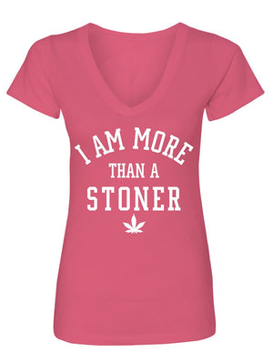 Manateez Women's I Am More Than A Stoner V-Neck Tee Shirt Medium Heather Gray