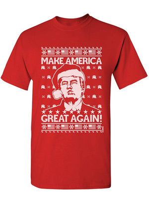 Manateez Men's Ugly Christmas Sweater Donald Trump Make America Great Again Tee Shirt
