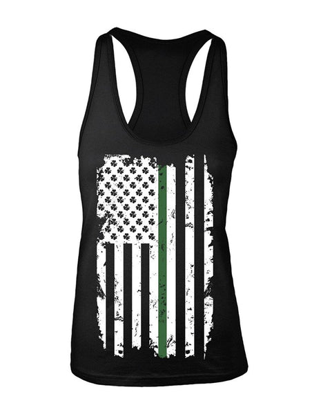 Manateez Women's St. Patrick's Day Irish American Flag Racer Back