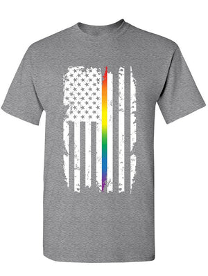 Manateez Men's Gay Pride American Flag Stripe Shirt Tee Shirt