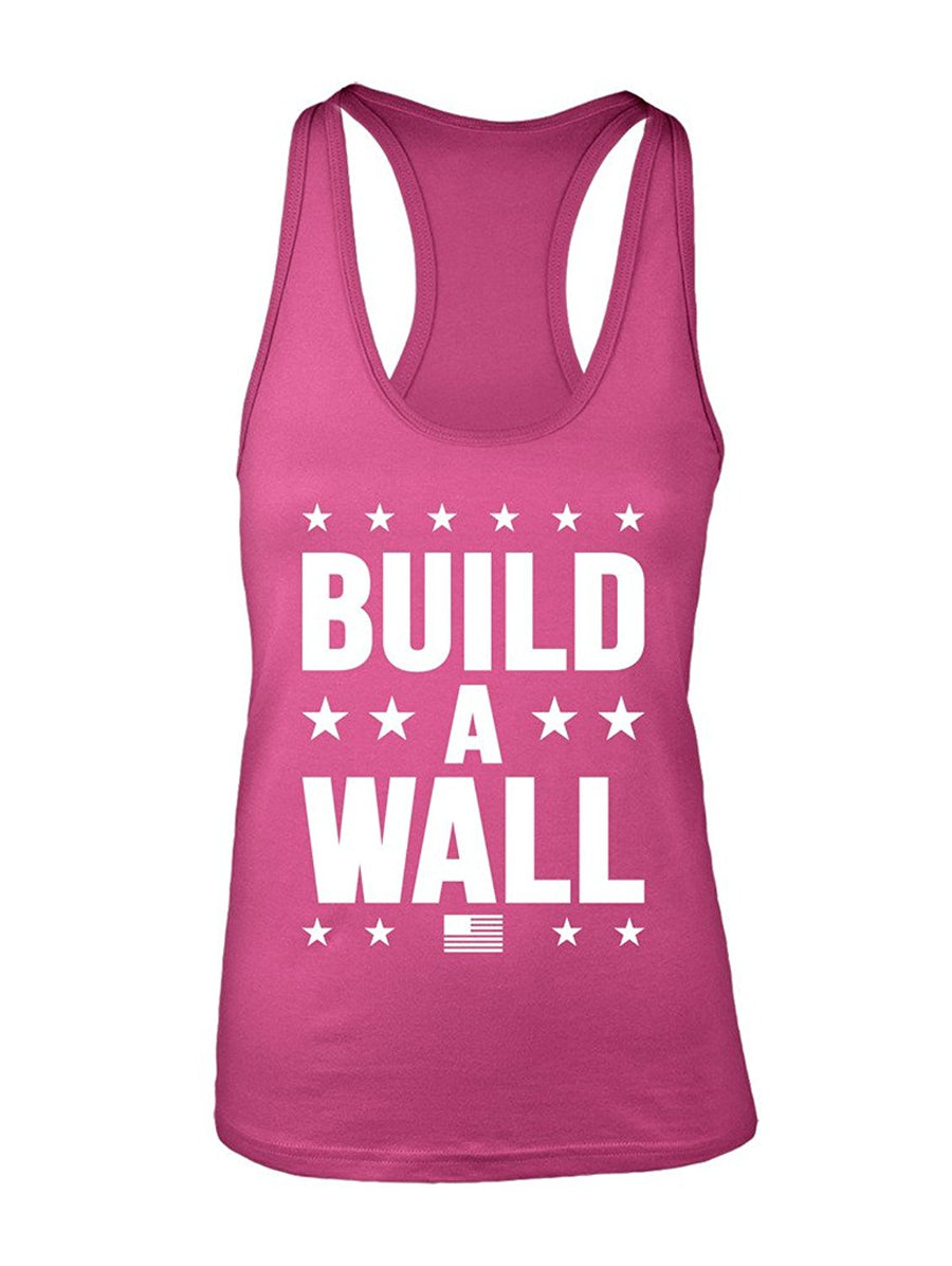 Manateez Women's Trump Build a Wall Racer Back Tank Top Large Black