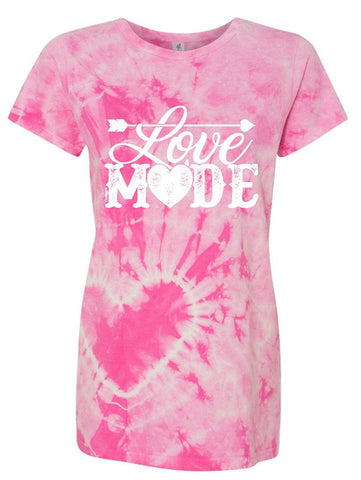 Manateez Women's Love Mode Lettering Valentine's Day Tie Dye Shirt