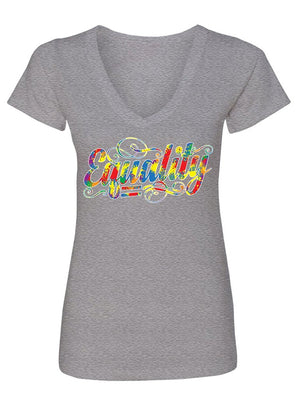 Manateez Women's Rainbow Equality Gay Rights V-Neck