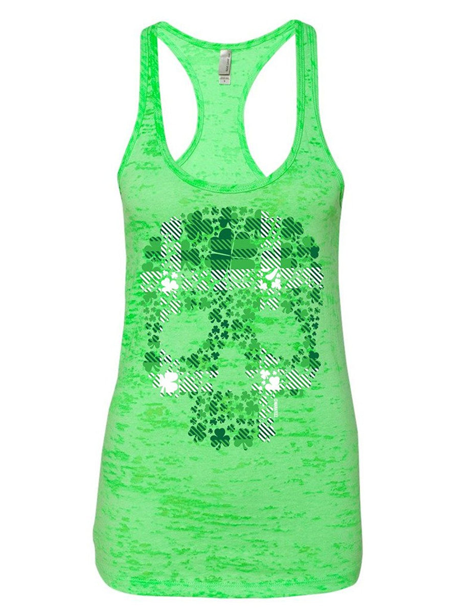 Manateez Women's St. Patrick's Day Plaid Four Leaf Clover Candy Skull Burnout