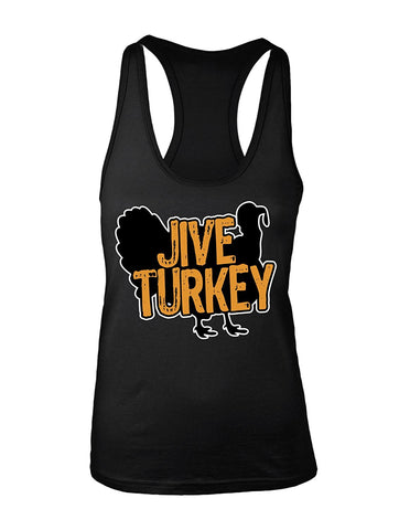 Manateez Women's Thanksgiving Dinner Jive Turkey Racer Back