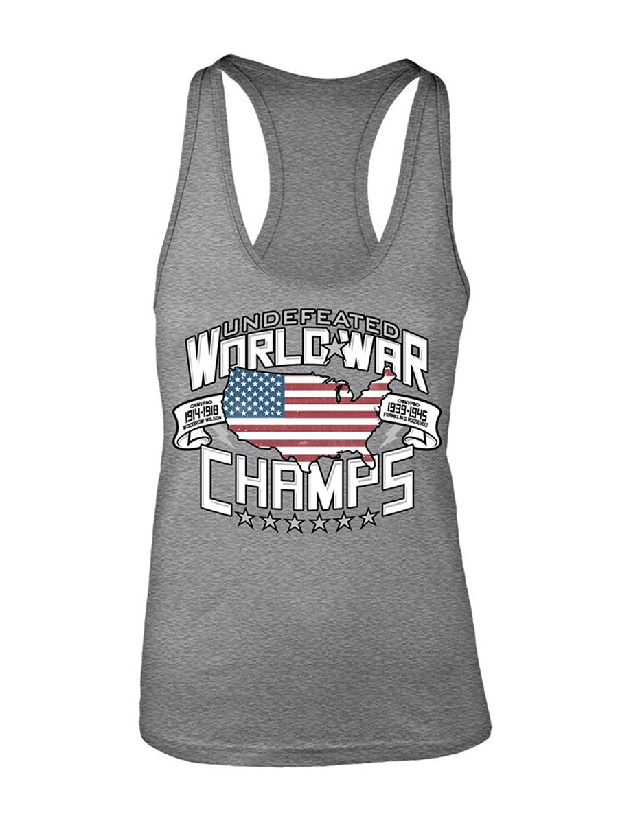 Manateez Women's Two-Time Undefeated World War Champions USA Racer Back Tank Top