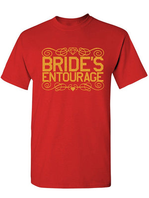 Manateez Men's Bride's Entourage Tee Shirt Large Red