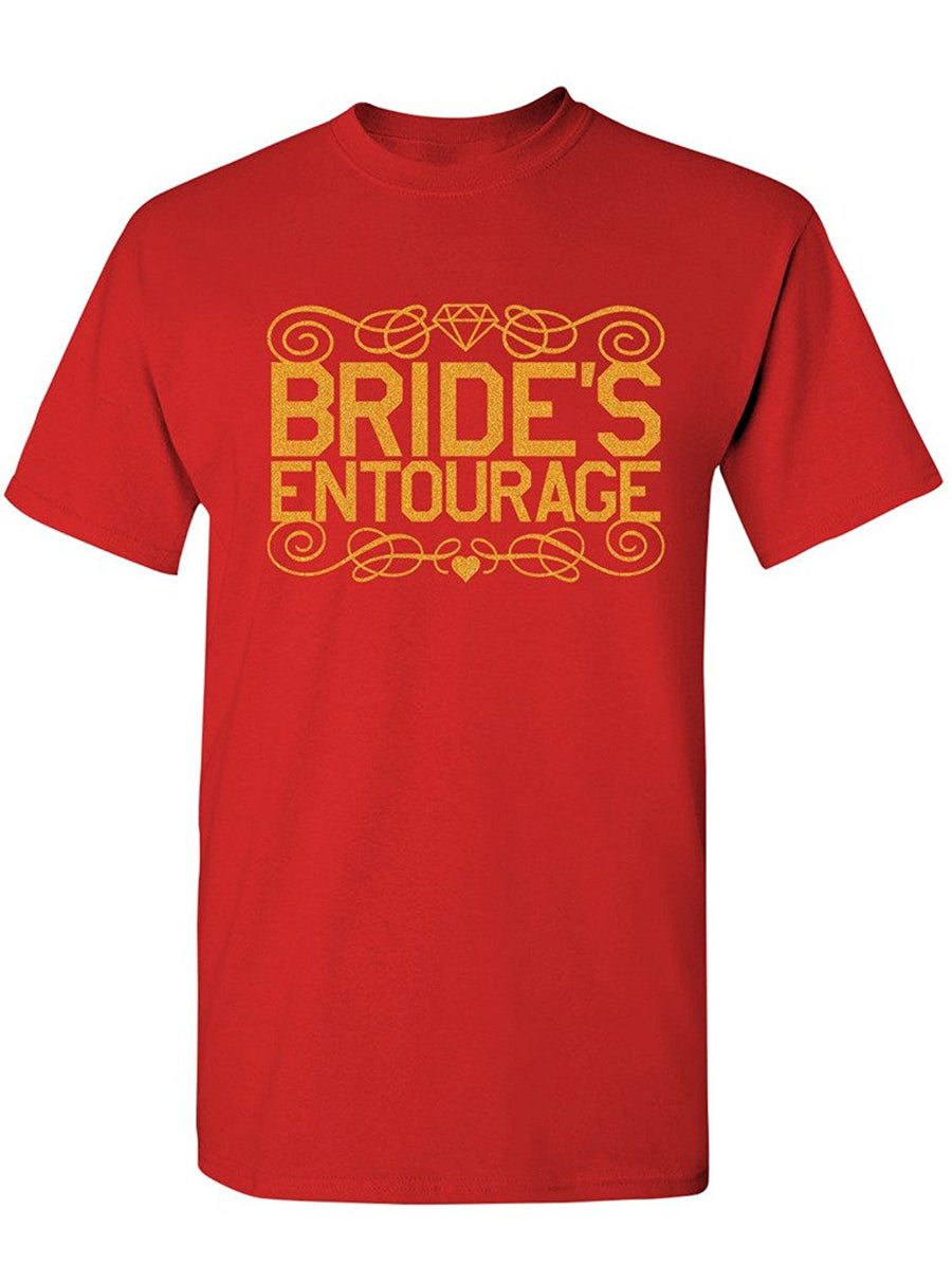 Manateez Men's Bride's Entourage Tee Shirt Medium Red