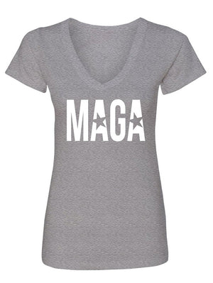 Manateez Women's MAGA Make America Great Again V-Neck Tee Shirt
