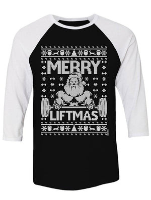 Manateez Ugly Christmas Sweater Merry Liftmas Santa Raglan