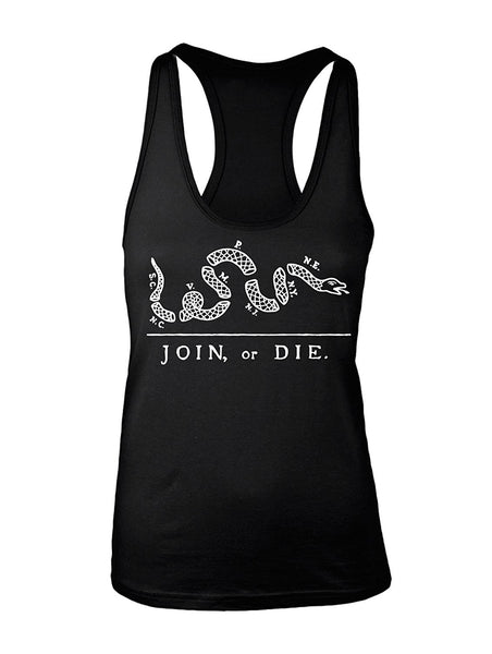 Manateez Women's America Join or Die US Constitution Cartoon Racer Back Tank Top