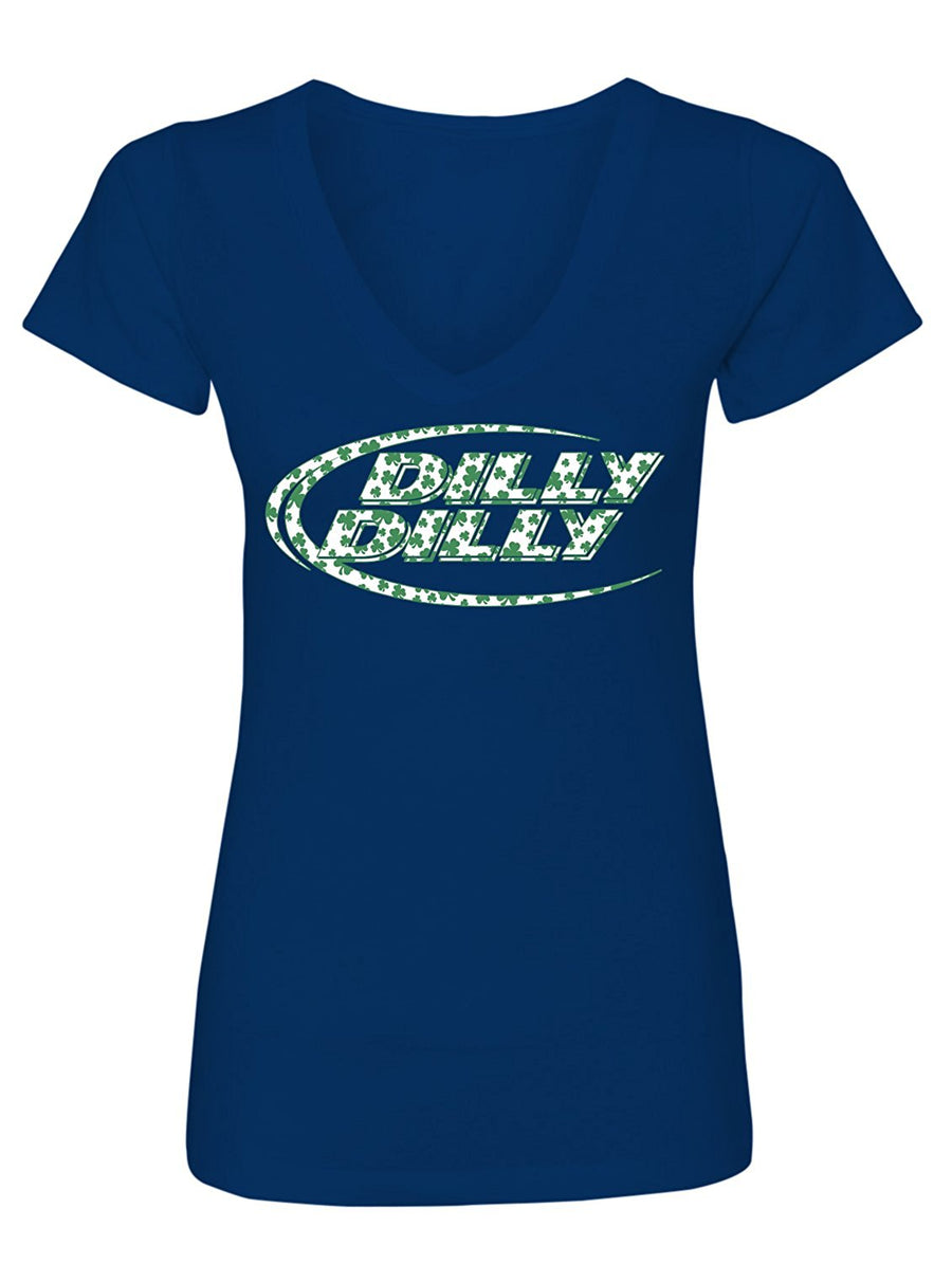 Manateez Women's ST. Patrick's Day Bud Light Dilly Dilly V-Neck Tee Shirt