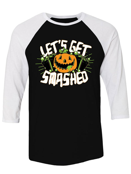 Manateez Halloween Party Pumpkin Jack-O-Lantern Let's Get Smashed Raglan