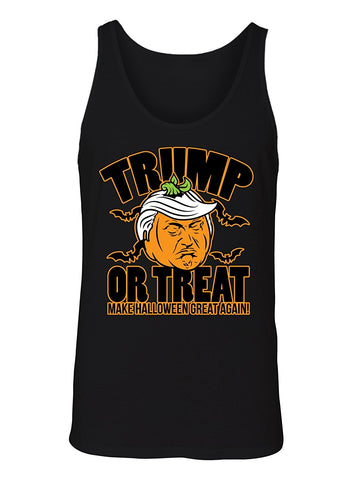 Manateez Men's Scary Halloween Pumpkin Donald Trump Trick or Treat Tank Top