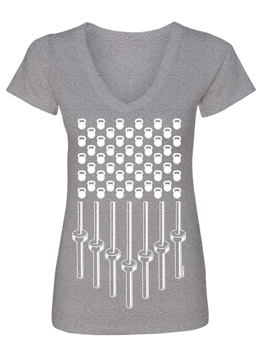 Manateez Women's Bells and Bars Stars and Stripes V-Neck Tee Shirt