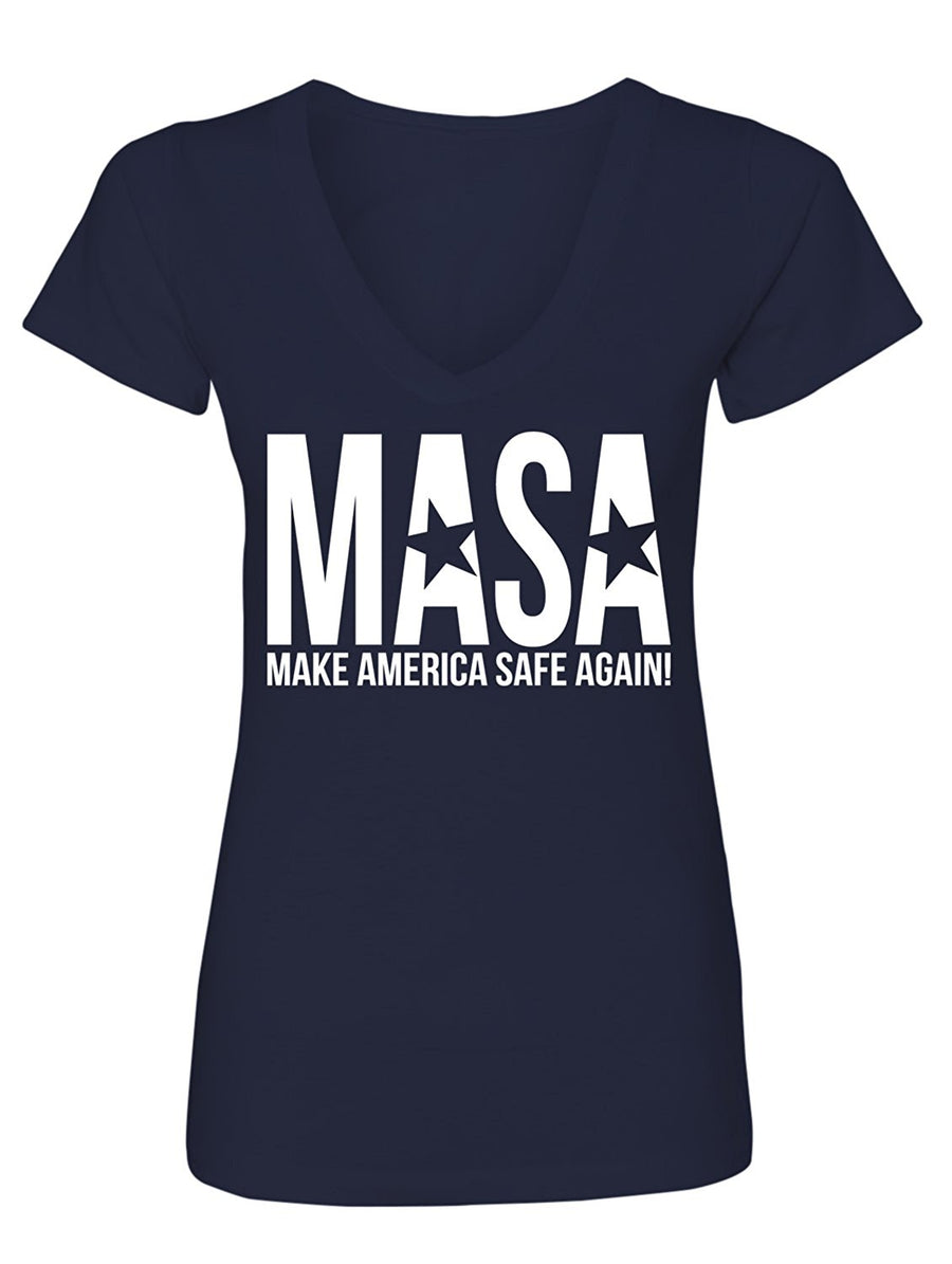 Manateez Women's Make America Safe Again V-Neck Tee Shirt