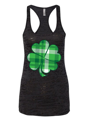 Manateez Women's St. Patrick's Day Plaid Four Leaf Clover Burnout