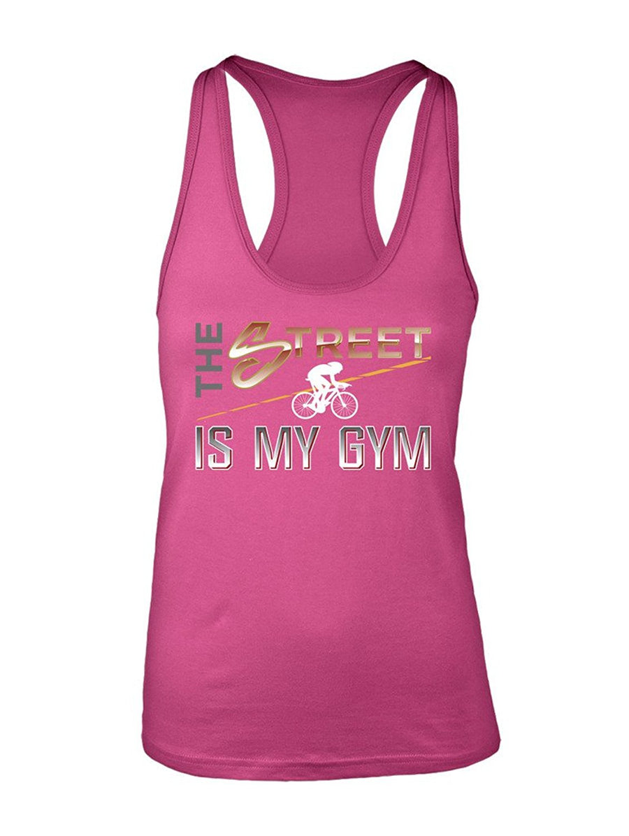 Manateez Women's The Street is My Gym Cyclist Racer Back Tank Top