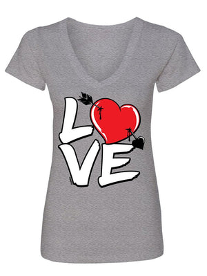 Manateez Women's Love Cupid's Arrow to the Heart Valentine's Day V-Neck