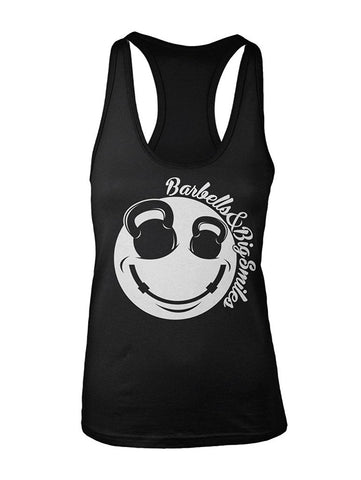 Manateez Women's Barbells & Big Smiles Smiley Face Racer Back Tank Top
