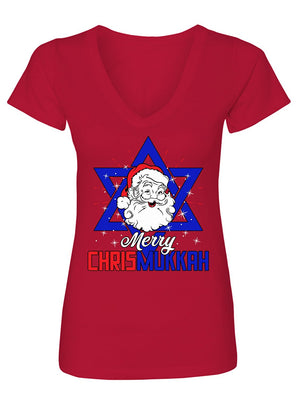 Manateez Women's Merry Christmukkah Santa Clause Star Of David V-Neck Tee Shirt