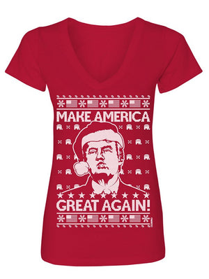 Manateez Women's Ugly Christmas Sweater Donald Trump Make America Great Again V-Neck