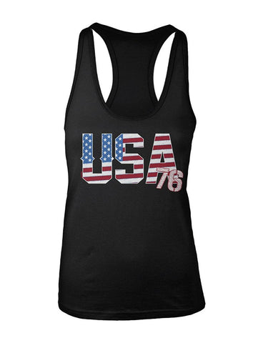 Manateez Women's USA 76 American Flag Racer Back Tank Top