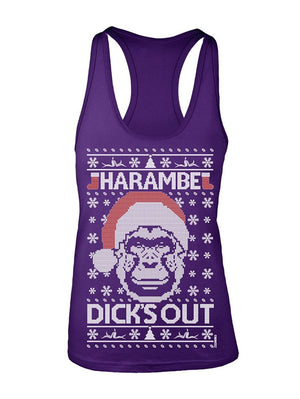 Manateez Women's Dick's Out for Harambe Christmas Sweater Racer Back