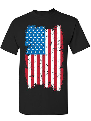 Manateez Unisex USA Tattered American Flag Tee Shirt