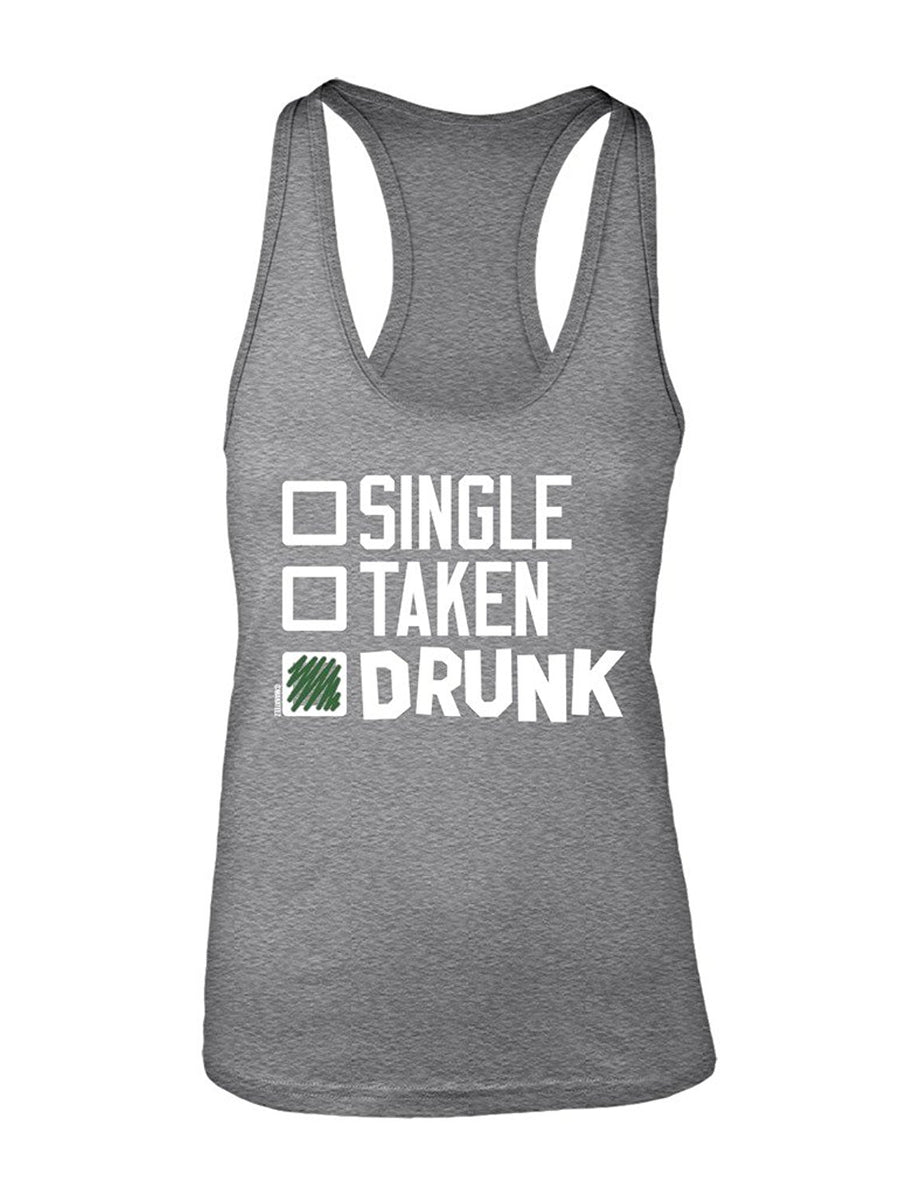 Manateez Women's St. Patrick's Day Drinking Checklist Racer Back Large Black