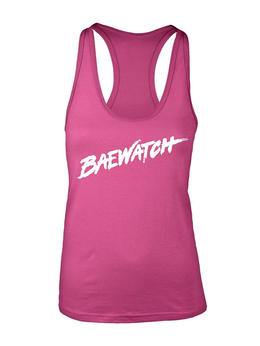 Manateez Women's Baywatch Lifeguard Design Baewatch Racer Back Tank Top