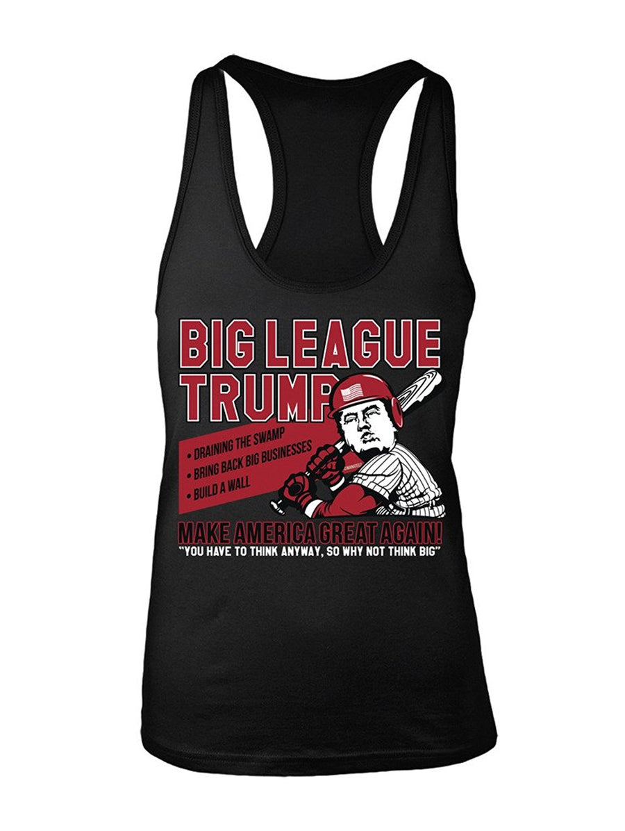 Manateez Women's Donald Trump Big League Chew Make America Great Again Racer Back