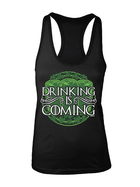 Manateez Women's St. Patrick's Day Drinking is Coming Racer Back